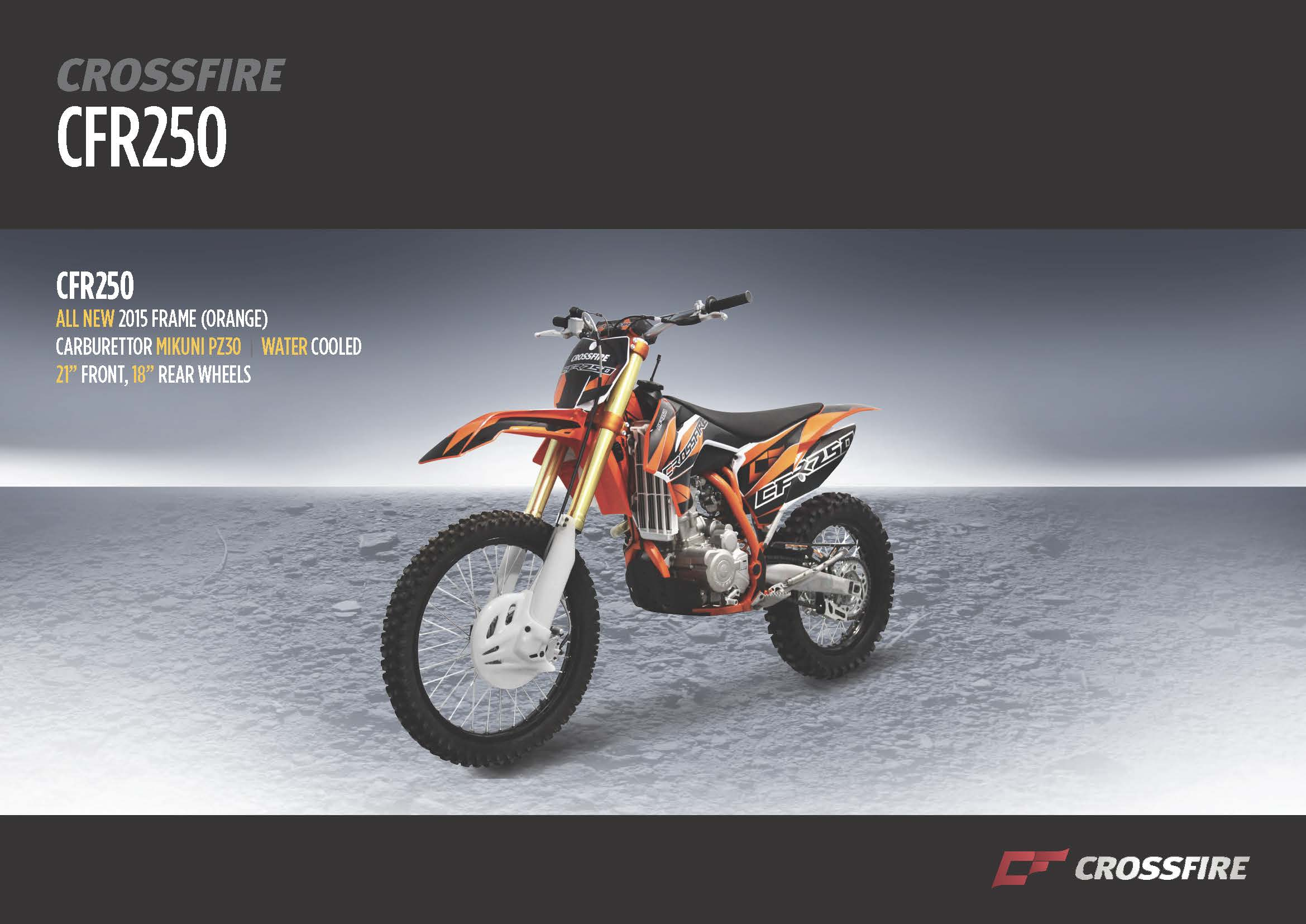 Crossfire CFR250 Brochure Front - dirt bikes store warwick