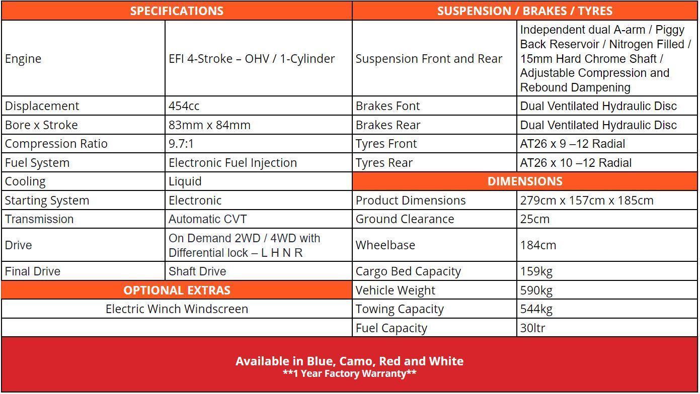 Crossfire 500GT Specifications - side by side atv warwick