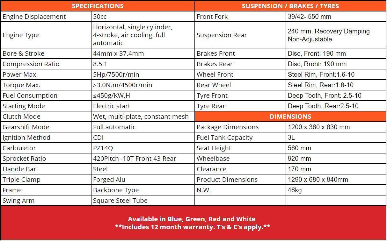Crossfire CF50 Main Specification - dirt bikes store toowoomba