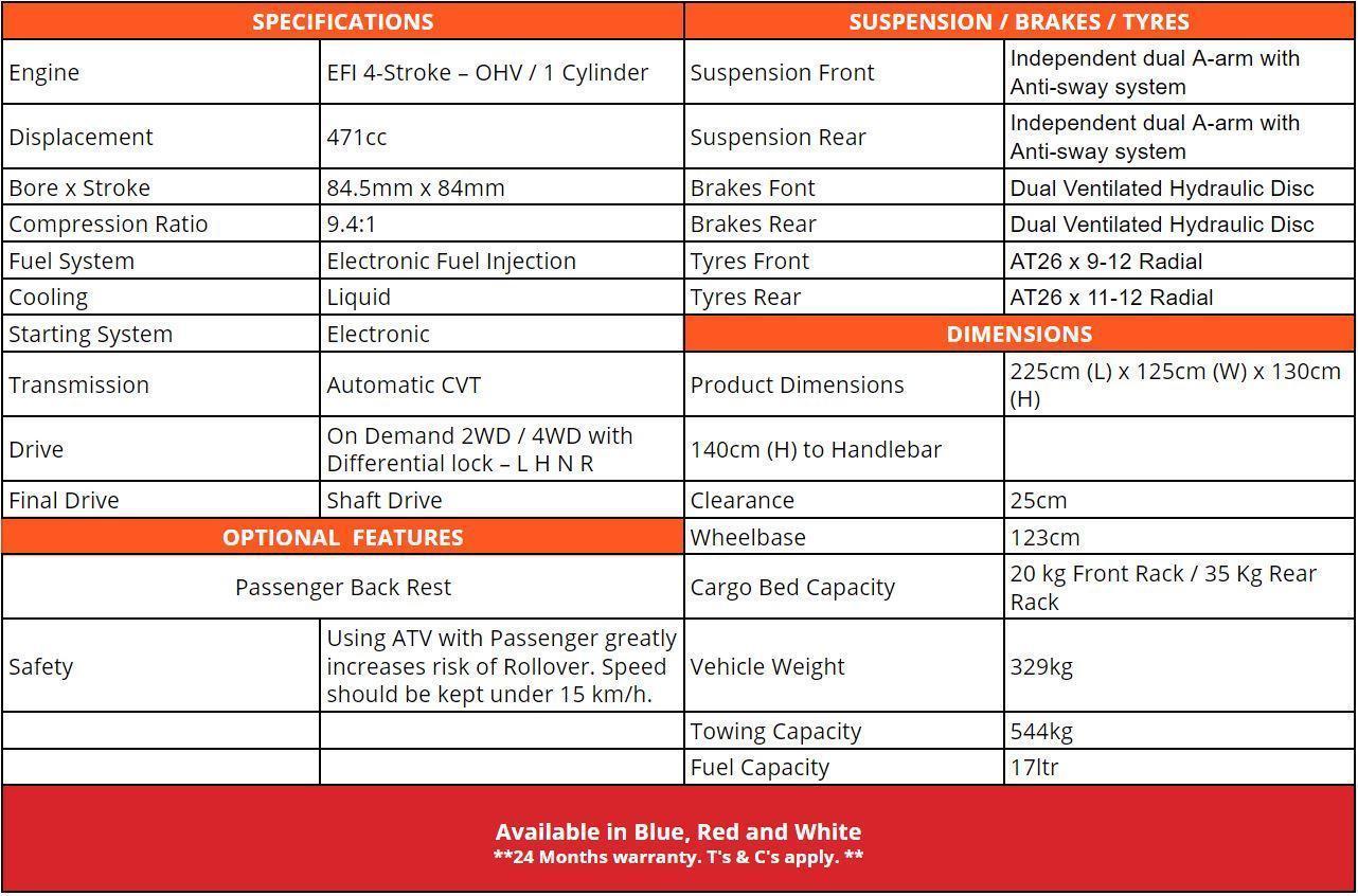 Crossfire Territory 500cc Quad Specifications - quad bikes store chinchilla